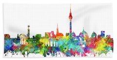 Berlin City Skyline Watercolor Bath Towel by Bekim Art