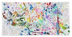 Berlin Map White Bath Towel by Bekim Art