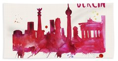 Berlin Skyline Watercolor Poster - Cityscape Painting Artwork Bath Towel