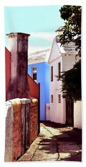 Hand Towel featuring the photograph Bermuda Street Scene-study#6 by Richard Ortolano
