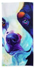 Bernese Mountain Dog - Zeke In Blue Hand Towel