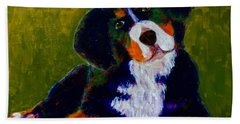 Bath Towel featuring the painting Bernese Mtn Dog Puppy by Donald J Ryker III