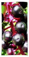 Wild Purple Pokeweed Berries  Bath Towel
