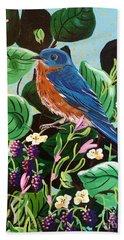Berry Bluebird Hand Towel
