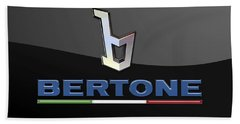 Bertone - 3 D Badge On Black Hand Towel