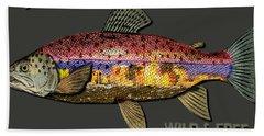 Bath Towel featuring the digital art Fishing - Best Caught Wild-on Dark by Elaine Ossipov