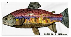 Bath Towel featuring the digital art Fishing - Best Caught Wild - On Light No Hat by Elaine Ossipov