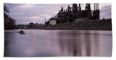 Bath Towel featuring the photograph Bethlehem Steel Sunset by Jennifer Ancker