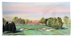 Bath Towel featuring the painting Bethpage State Park Golf Course 18th Hole by Bill Holkham