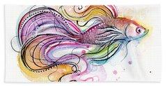 Betta Fish Watercolor Bath Towel