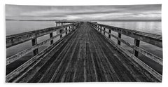 Bevan Fishing Pier - Black And White Hand Towel