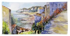 Bath Towel featuring the painting Beyond The Point by Rae Andrews