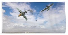 Hand Towel featuring the photograph Bf109 Down In The Channel by Gary Eason