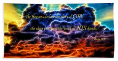 Bath Towel featuring the photograph Biblical Electrified Cumulus Clouds Skyscape - Psalm 19 1 by Shelley Neff