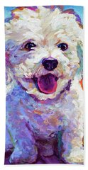 Bath Towel featuring the painting Bichon Frise by Robert Phelps
