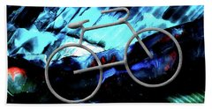 Bicycle Abstract Art Blue Bath Towel by Lesa Fine