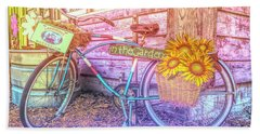 Bicycle In The Garden Art Watercolors With Sunflowers Bath Towel