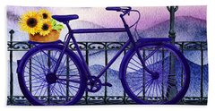Bath Towel featuring the painting Blue Bicycle And Sunflowers By Irina Sztukowski  by Irina Sztukowski
