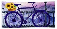 Blue Bicycle And Sunflowers By Irina Sztukowski  Hand Towel