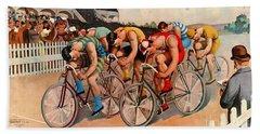 Bicycle Race 1895 Bath Towel