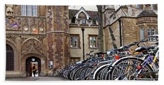 Bicycles At Trinity College Cambridge Hand Towel by Gill Billington