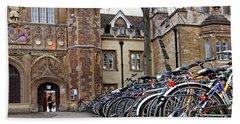 Bicycles At Trinity College Cambridge Bath Towel by Gill Billington