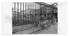 Bath Towel featuring the photograph Bicycles On Magdalene Bridge Cambridge In Black And White by Gill Billington