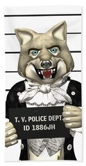 Bath Towel featuring the digital art Big Bad Wolf Mugshot by Methune Hively