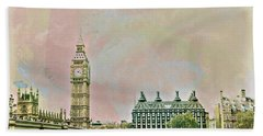 Big Ben Against A Watercolor Sky Bath Towel