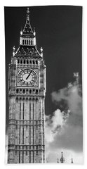 Big Ben And Clouds Bw Bath Towel