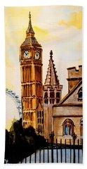 Big Ben And London Eye - Art By Dora Hathazi Mendes Bath Towel by Dora Hathazi Mendes