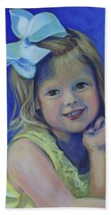 Big Bow Little Girl Hand Towel by Jeanette Jarmon