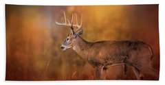 Big Buck In Autumn White Tailed Deer Art Bath Towel