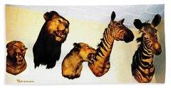 Big Game Africa - Zebras And Lions Bath Towel by Sadie Reneau