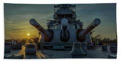 Big Guns At Sunset Hand Towel by Denis Lemay