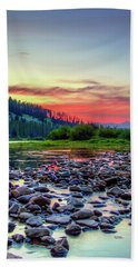 Big Hole River Sunset Hand Towel