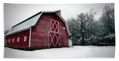 Big Red Barn In Snow Hand Towel