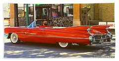 Big Red Cadillac Convertible Summer In The City Hand Towel