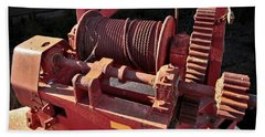 Bath Towel featuring the photograph Big Red Winch by Stephen Mitchell