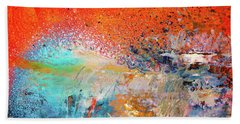 Big Shot - Orange And Blue Colorful Happy Abstract Art Painting Bath Towel