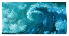 Hand Towel featuring the painting Big Wave by Anastasiya Malakhova