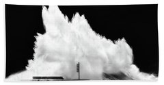 Big Wave Breaking On Breakwater Bath Towel