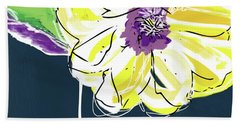 Hand Towel featuring the mixed media Big Yellow Flower- Art By Linda Woods by Linda Woods