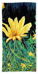 Hand Towel featuring the painting Big Yellow by Ian  MacDonald