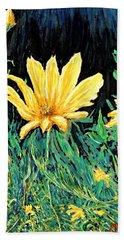Bath Towel featuring the painting Big Yellow by Ian  MacDonald