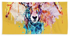 Hand Towel featuring the mixed media Bighorn Sheep Portrait by Marian Voicu