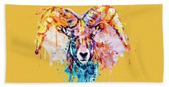 Bighorn Sheep Portrait Bath Towel