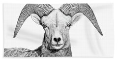Bath Towel featuring the photograph Bighorn Sheep Ram Black And White by Jennie Marie Schell