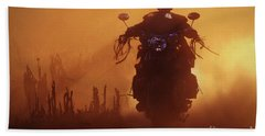 Biker Man Riding Motorcycle On The Sunset Hand Towel