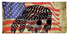 Biker Skull American Flag Old Paper Art Hand Towel